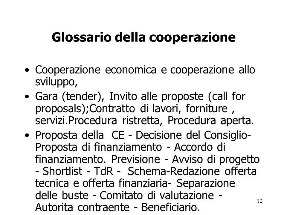 12 Glossario della cooperazione Cooperazione economica e cooperazione allo sviluppo, Gara (tender), Invito alle proposte (call for proposals);Contratt
