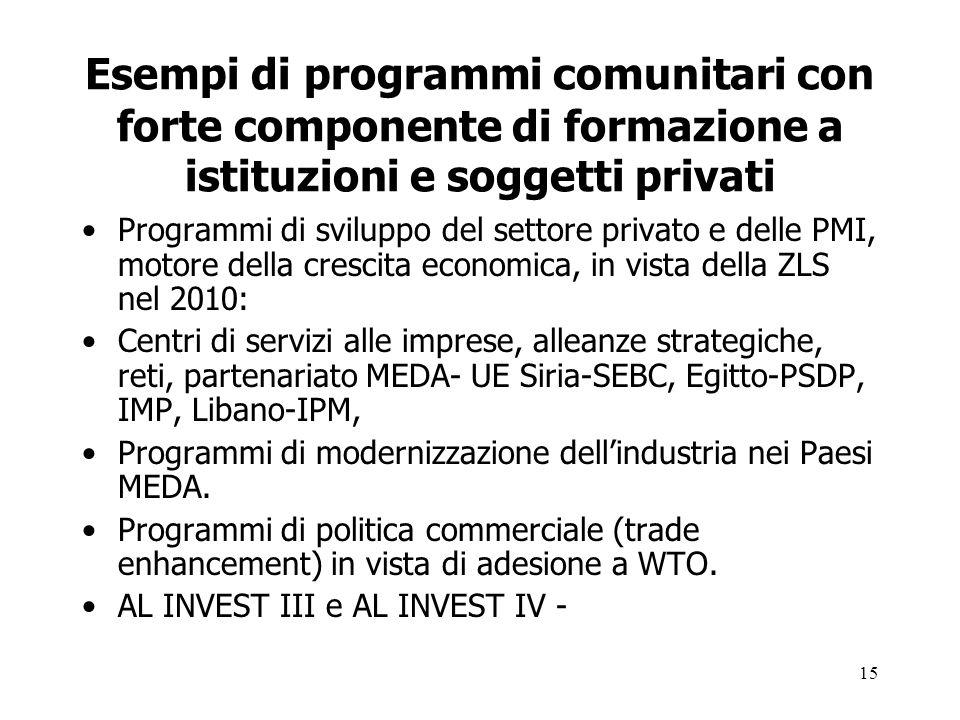 15 Esempi di programmi comunitari con forte componente di formazione a istituzioni e soggetti privati Programmi di sviluppo del settore privato e dell