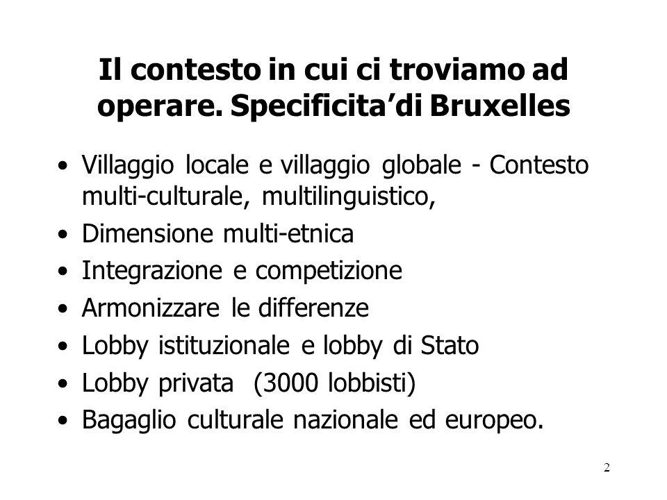 2 Il contesto in cui ci troviamo ad operare. Specificitadi Bruxelles Villaggio locale e villaggio globale - Contesto multi-culturale, multilinguistico