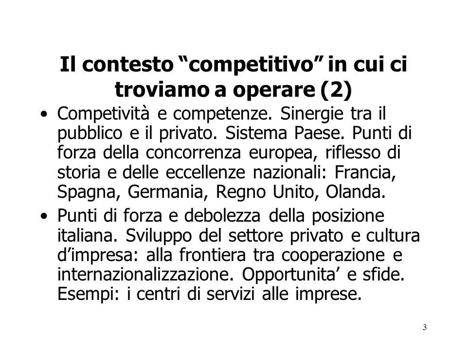 3 Il contesto competitivo in cui ci troviamo a operare (2) Competività e competenze. Sinergie tra il pubblico e il privato. Sistema Paese. Punti di fo