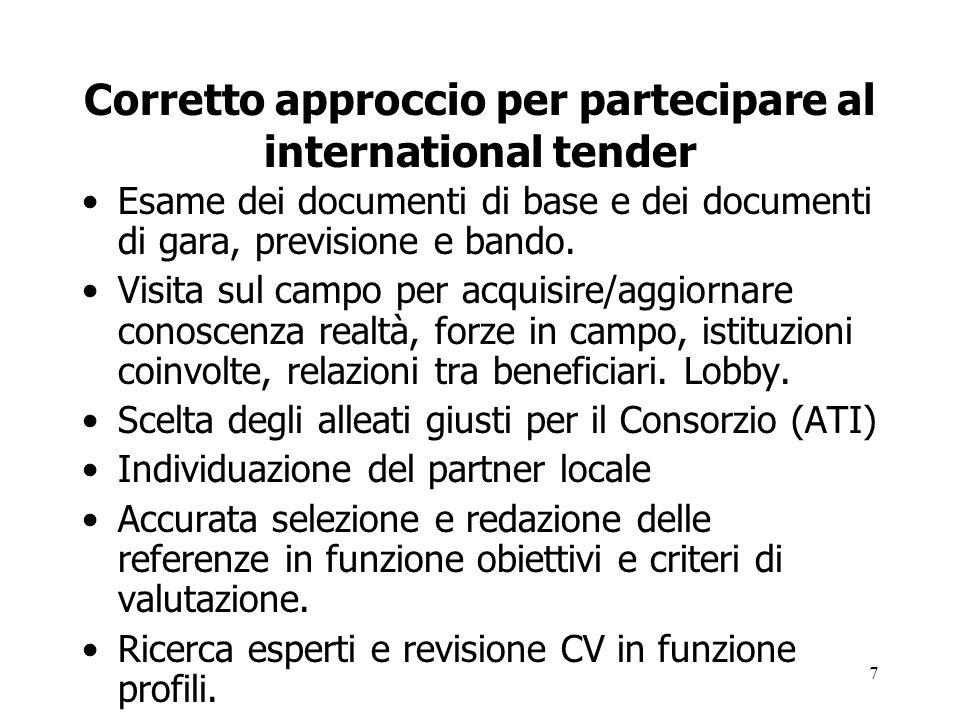 7 Corretto approccio per partecipare al international tender Esame dei documenti di base e dei documenti di gara, previsione e bando. Visita sul campo