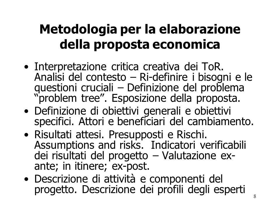 8 Metodologia per la elaborazione della proposta economica Interpretazione critica creativa dei ToR. Analisi del contesto – Ri-definire i bisogni e le