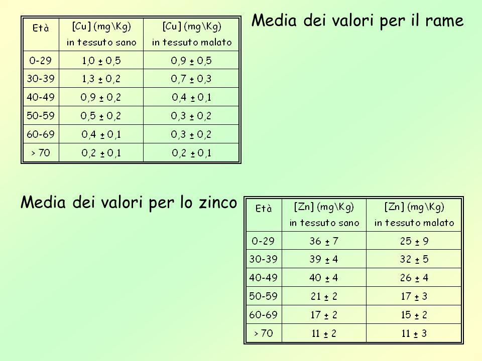 Media dei valori per il rame Media dei valori per lo zinco