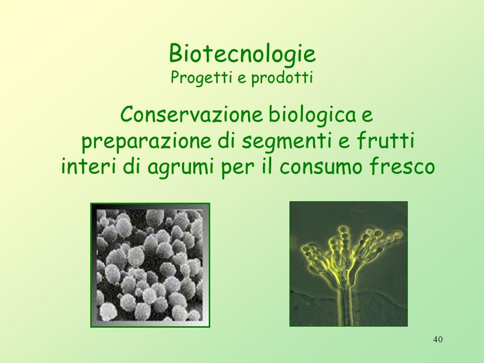 39 Biotecnologie Progetti e prodotti Metodologie e tecnologie per la riduzione dellimpatto ambientale derivante dalluso dei fitofarmaci nel contesto d