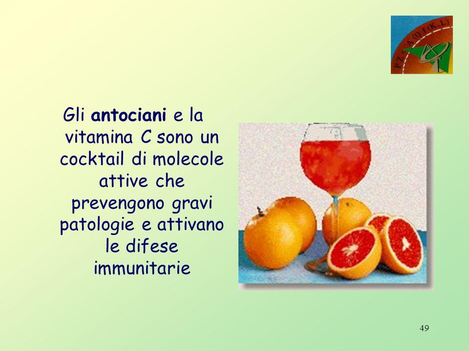 48 Valutazioni comparative tra arance bionde e pigmentate per 100g di prodotto