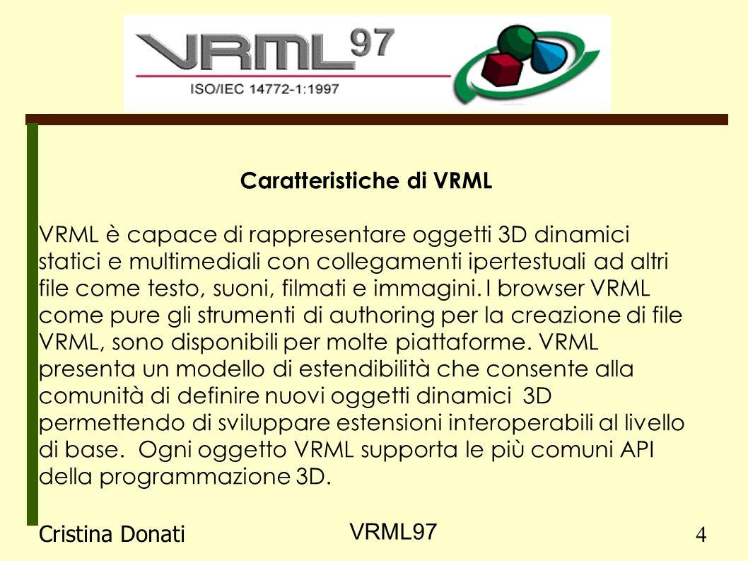 Caratteristiche di VRML VRML è capace di rappresentare oggetti 3D dinamici statici e multimediali con collegamenti ipertestuali ad altri file come testo, suoni, filmati e immagini.