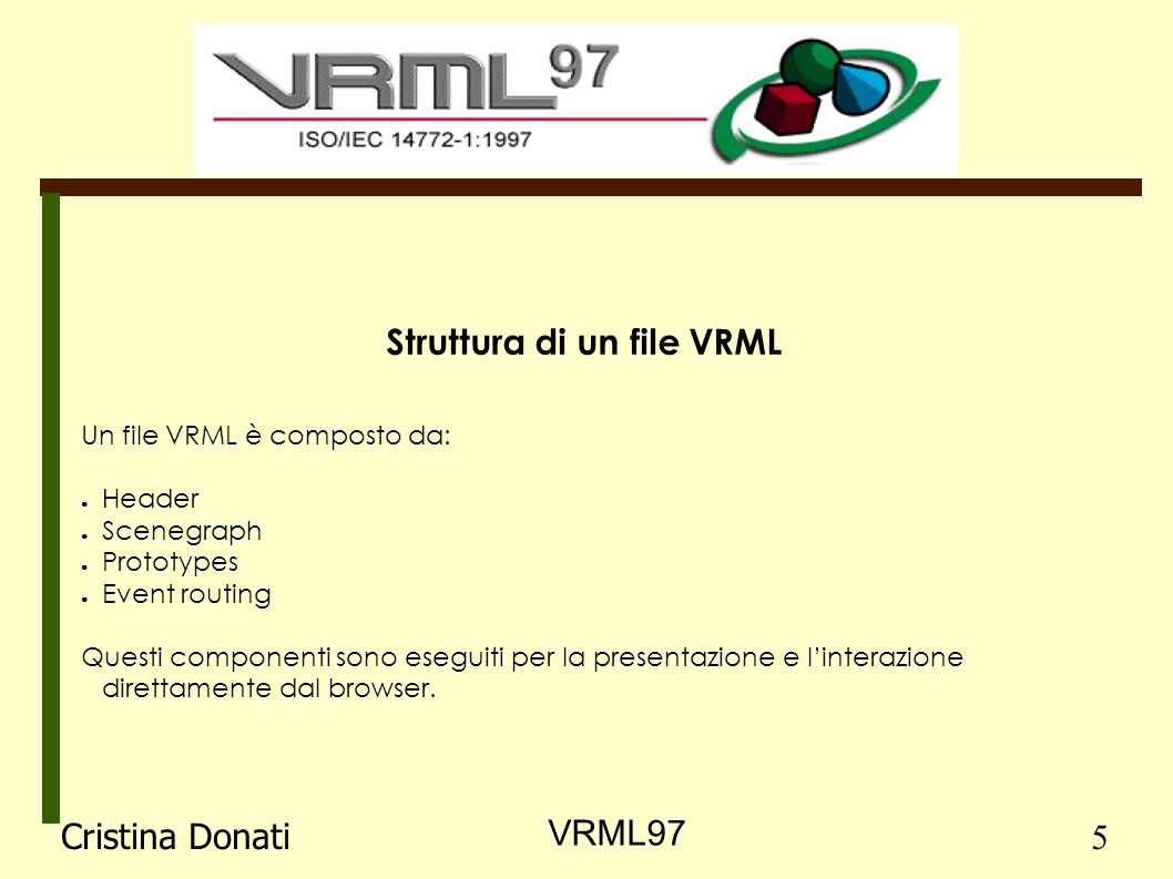 Header Sono necessari a identificare facilmente un file VRML.