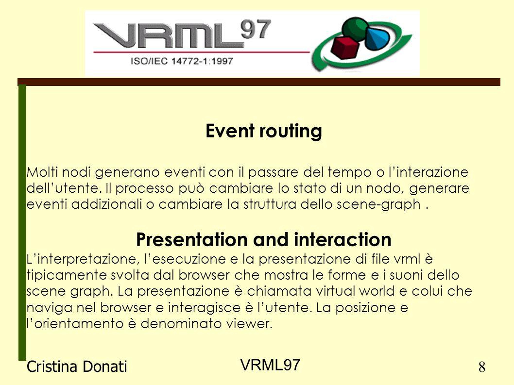 Event routing Molti nodi generano eventi con il passare del tempo o linterazione dellutente.