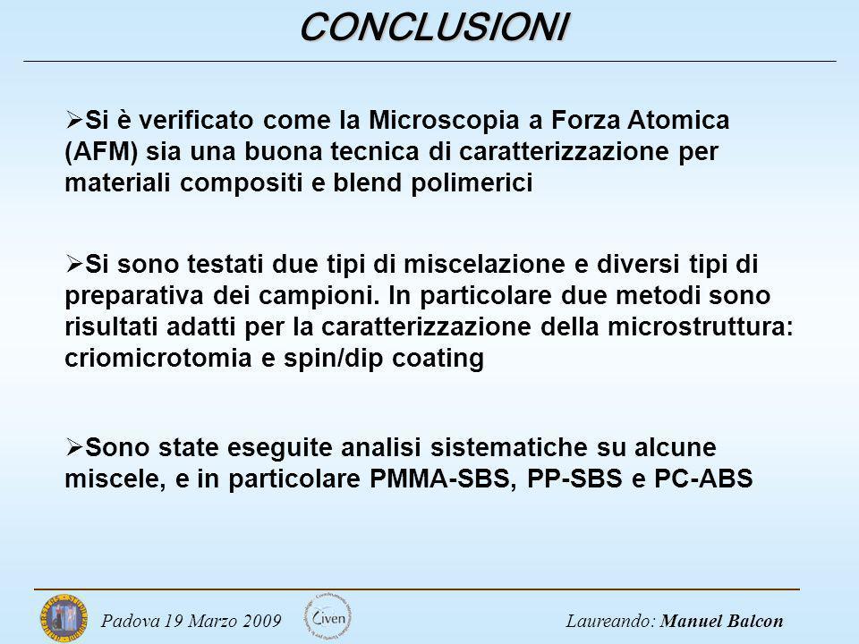 Laureando: Manuel BalconPadova 19 Marzo 2009 CONCLUSIONI Si sono testati due tipi di miscelazione e diversi tipi di preparativa dei campioni. In parti