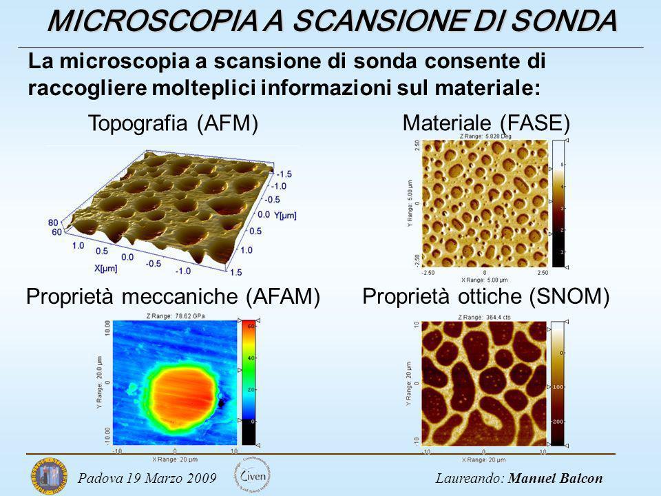 Laureando: Manuel BalconPadova 19 Marzo 2009 MICROSCOPIA A SCANSIONE DI SONDA Topografia (AFM) Materiale (FASE) Proprietà meccaniche (AFAM) Proprietà