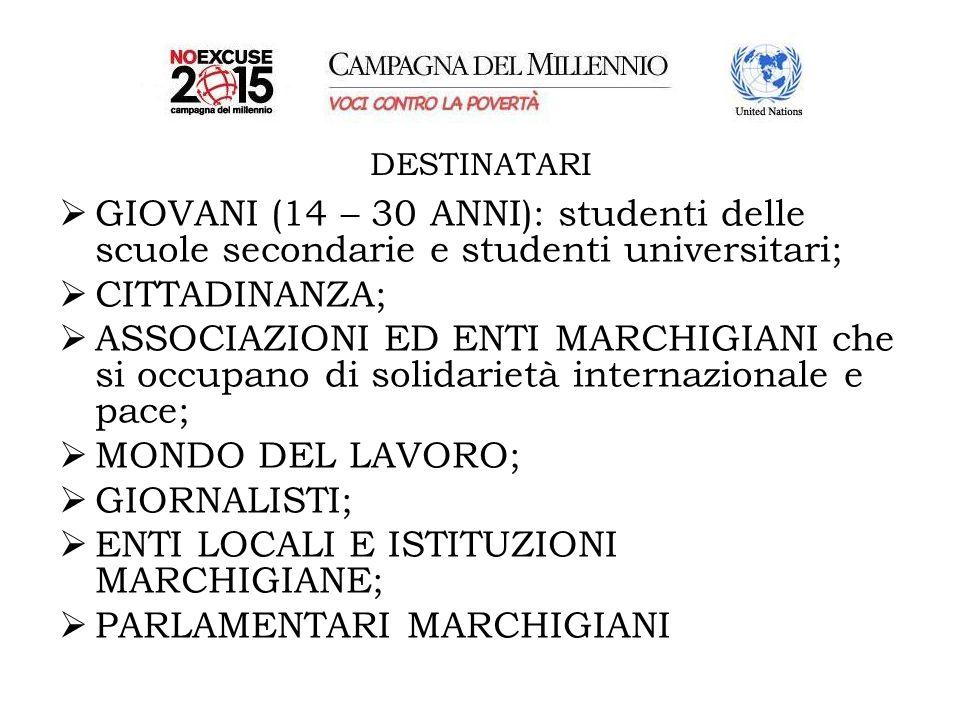 DESTINATARI GIOVANI (14 – 30 ANNI): studenti delle scuole secondarie e studenti universitari; CITTADINANZA; ASSOCIAZIONI ED ENTI MARCHIGIANI che si occupano di solidarietà internazionale e pace; MONDO DEL LAVORO; GIORNALISTI; ENTI LOCALI E ISTITUZIONI MARCHIGIANE; PARLAMENTARI MARCHIGIANI