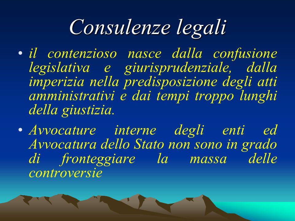 Consulenze legali il contenzioso nasce dalla confusione legislativa e giurisprudenziale, dalla imperizia nella predisposizione degli atti amministrativi e dai tempi troppo lunghi della giustizia.