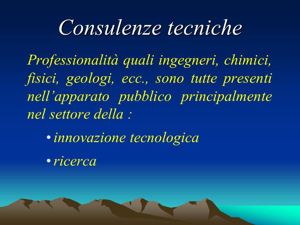 Consulenze tecniche Professionalità quali ingegneri, chimici, fisici, geologi, ecc., sono tutte presenti nellapparato pubblico principalmente nel settore della : innovazione tecnologica ricerca