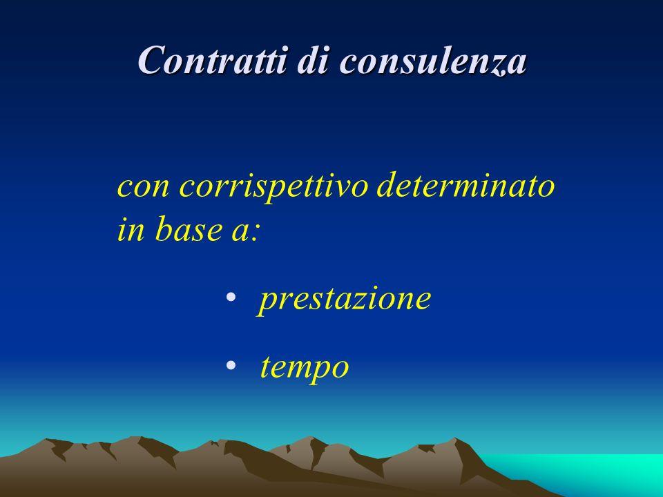 Contratti di consulenza con corrispettivo determinato in base a: prestazione tempo