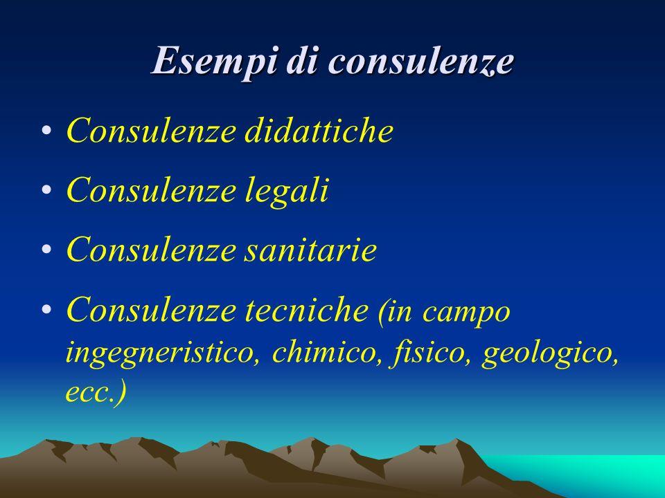 Esempi di consulenze Consulenze didattiche Consulenze legali Consulenze sanitarie Consulenze tecniche (in campo ingegneristico, chimico, fisico, geologico, ecc.)
