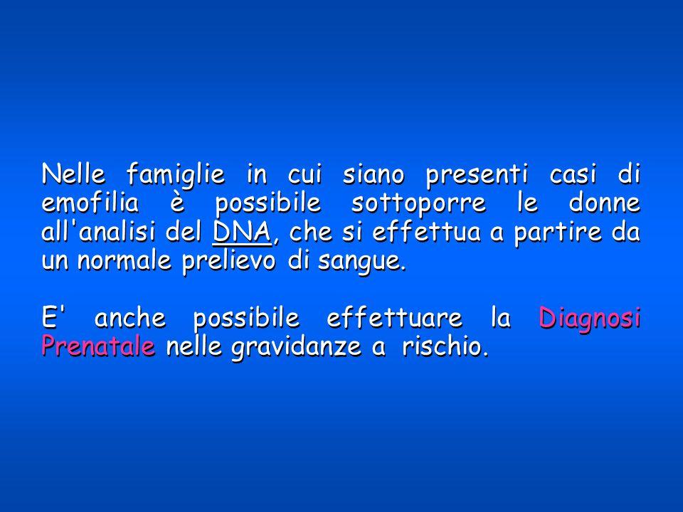 Nelle famiglie in cui siano presenti casi di emofilia è possibile sottoporre le donne all'analisi del DNA, che si effettua a partire da un normale pre