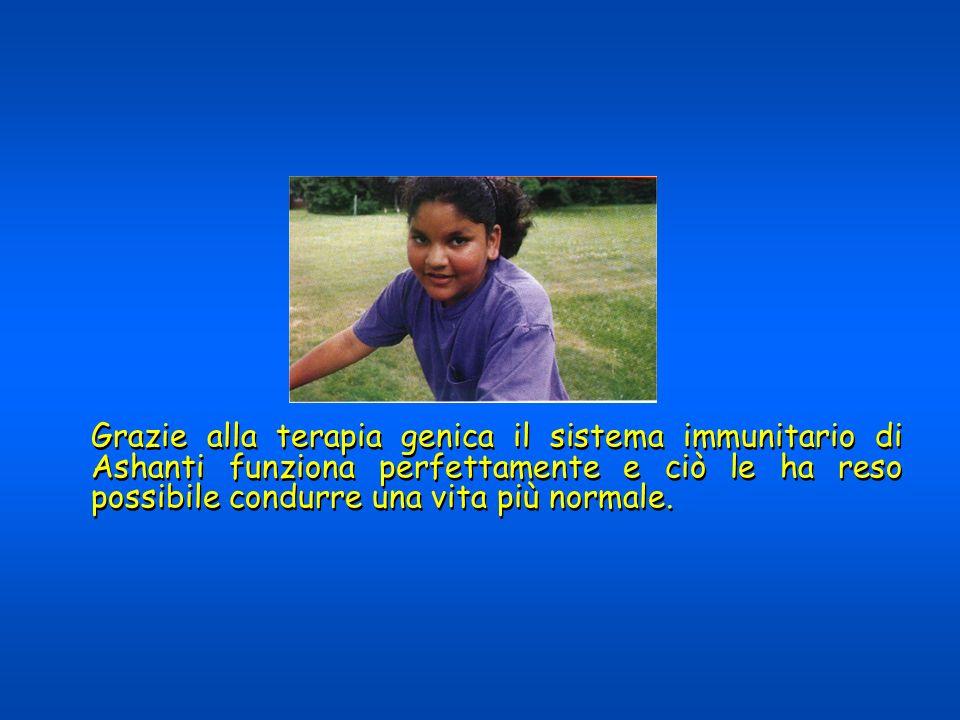 Grazie alla terapia genica il sistema immunitario di Ashanti funziona perfettamente e ciò le ha reso possibile condurre una vita più normale.