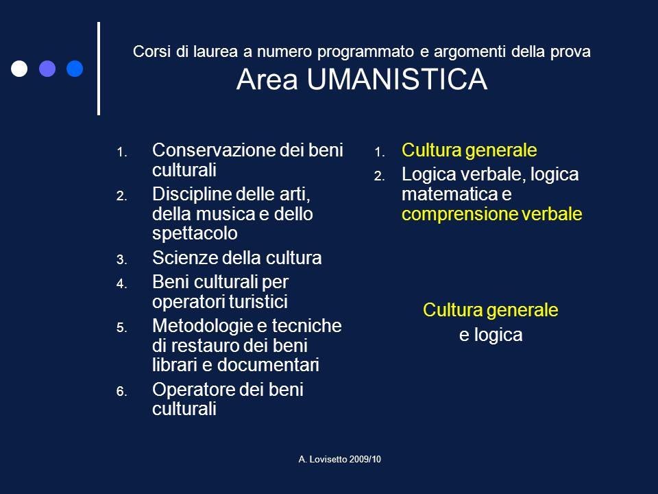 A. Lovisetto 2009/10 Corsi di laurea a numero programmato e argomenti della prova Area UMANISTICA 1. Conservazione dei beni culturali 2. Discipline de