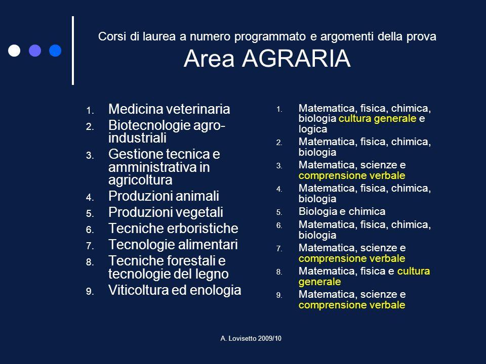 A. Lovisetto 2009/10 Corsi di laurea a numero programmato e argomenti della prova Area AGRARIA 1. Medicina veterinaria 2. Biotecnologie agro- industri