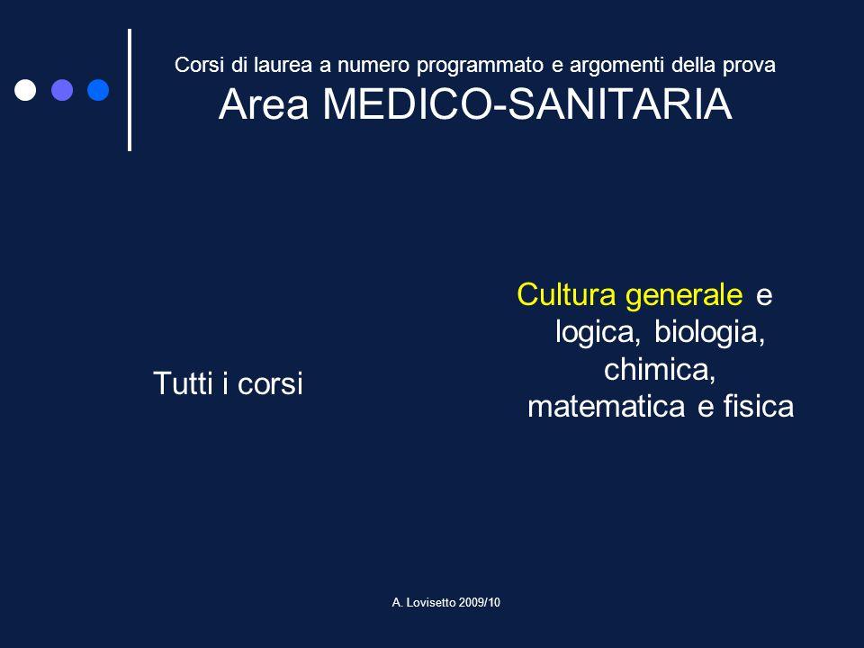 A. Lovisetto 2009/10 Corsi di laurea a numero programmato e argomenti della prova Area MEDICO-SANITARIA Tutti i corsi Cultura generale e logica, biolo