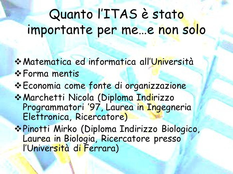 Quanto lITAS è stato importante per me…e non solo Matematica ed informatica allUniversità Forma mentis Economia come fonte di organizzazione Marchetti