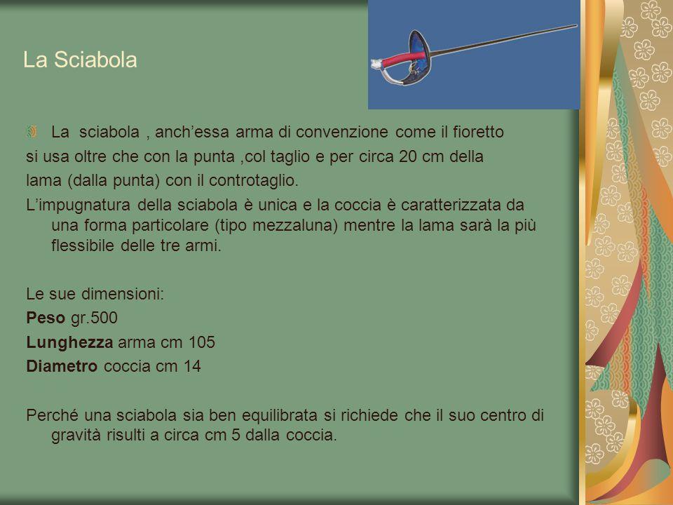 La Sciabola La sciabola, anchessa arma di convenzione come il fioretto si usa oltre che con la punta,col taglio e per circa 20 cm della lama (dalla pu