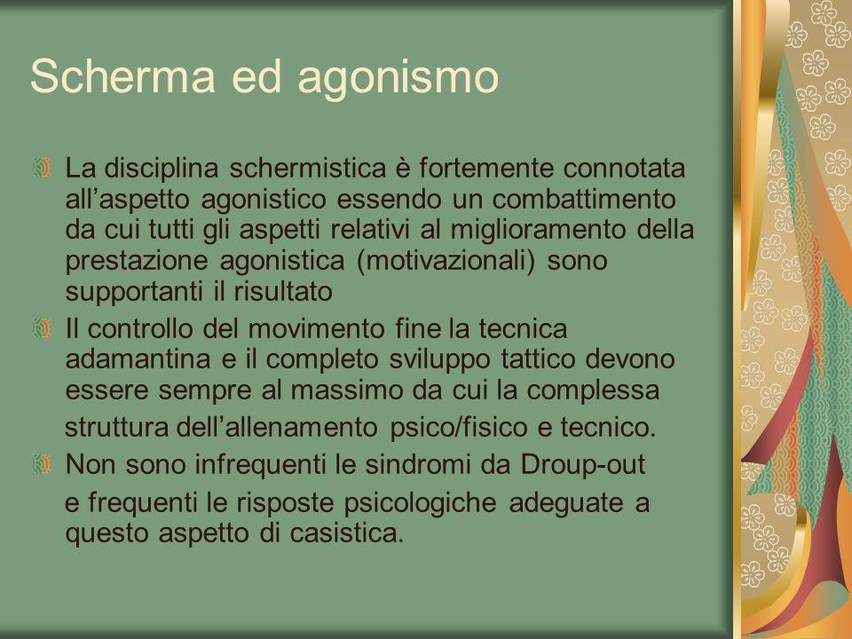 Scherma ed agonismo La disciplina schermistica è fortemente connotata allaspetto agonistico essendo un combattimento da cui tutti gli aspetti relativi