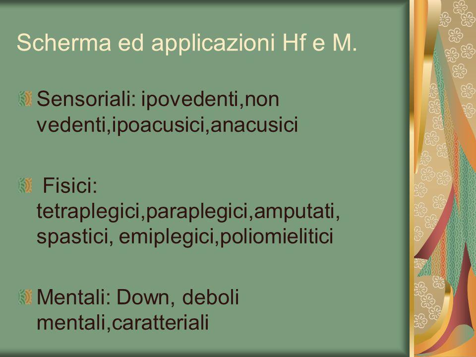 Scherma ed applicazioni Hf e M. Sensoriali: ipovedenti,non vedenti,ipoacusici,anacusici Fisici: tetraplegici,paraplegici,amputati, spastici, emiplegic