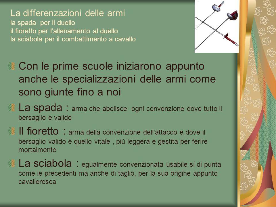La differenzazioni delle armi la spada per il duello il fioretto per lallenamento al duello la sciabola per il combattimento a cavallo Con le prime sc