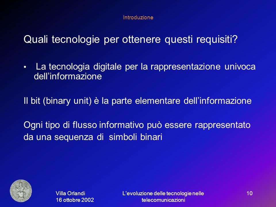 Villa Orlandi 16 ottobre 2002 L evoluzione delle tecnologie nelle telecomunicazioni 10 Introduzione Quali tecnologie per ottenere questi requisiti.