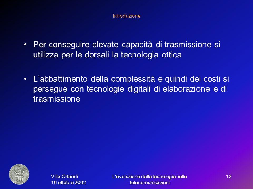 Villa Orlandi 16 ottobre 2002 L evoluzione delle tecnologie nelle telecomunicazioni 12 Introduzione Per conseguire elevate capacità di trasmissione si utilizza per le dorsali la tecnologia ottica Labbattimento della complessità e quindi dei costi si persegue con tecnologie digitali di elaborazione e di trasmissione