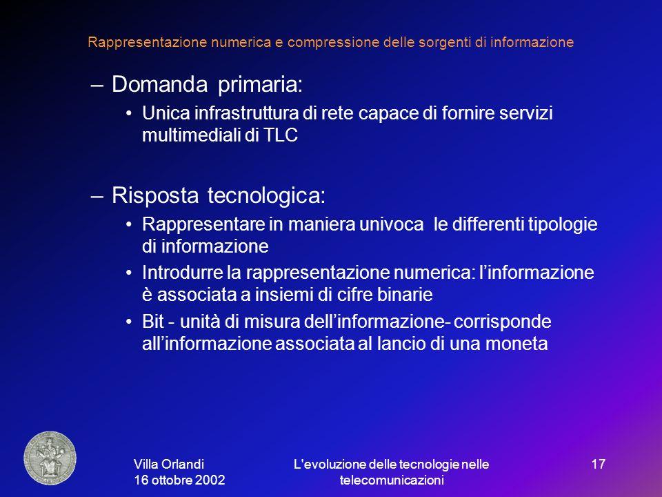 Villa Orlandi 16 ottobre 2002 L evoluzione delle tecnologie nelle telecomunicazioni 17 Rappresentazione numerica e compressione delle sorgenti di informazione –Domanda primaria: Unica infrastruttura di rete capace di fornire servizi multimediali di TLC –Risposta tecnologica: Rappresentare in maniera univoca le differenti tipologie di informazione Introdurre la rappresentazione numerica: linformazione è associata a insiemi di cifre binarie Bit - unità di misura dellinformazione- corrisponde allinformazione associata al lancio di una moneta