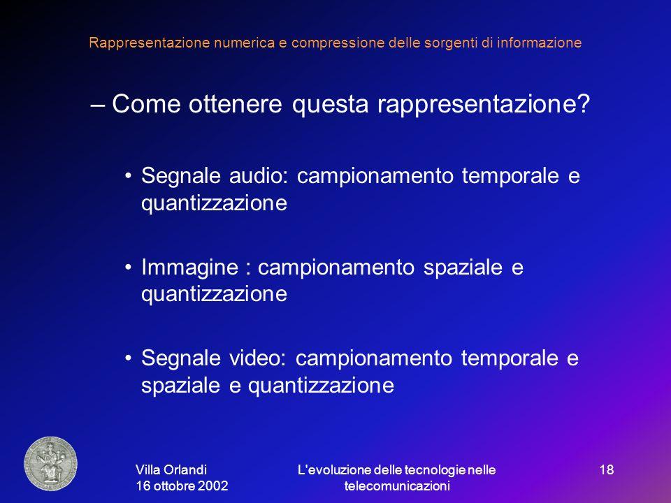 Villa Orlandi 16 ottobre 2002 L evoluzione delle tecnologie nelle telecomunicazioni 18 Rappresentazione numerica e compressione delle sorgenti di informazione –Come ottenere questa rappresentazione.