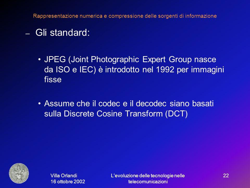 Villa Orlandi 16 ottobre 2002 L evoluzione delle tecnologie nelle telecomunicazioni 22 Rappresentazione numerica e compressione delle sorgenti di informazione – Gli standard: JPEG (Joint Photographic Expert Group nasce da ISO e IEC) è introdotto nel 1992 per immagini fisse Assume che il codec e il decodec siano basati sulla Discrete Cosine Transform (DCT)