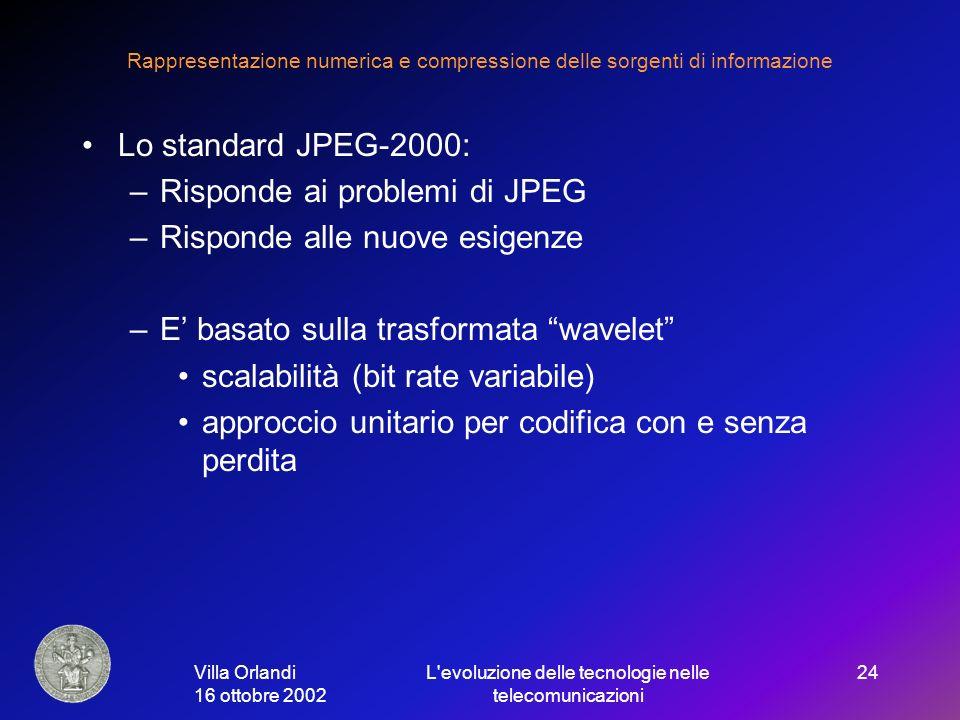 Villa Orlandi 16 ottobre 2002 L evoluzione delle tecnologie nelle telecomunicazioni 24 Rappresentazione numerica e compressione delle sorgenti di informazione Lo standard JPEG-2000: –Risponde ai problemi di JPEG –Risponde alle nuove esigenze –E basato sulla trasformata wavelet scalabilità (bit rate variabile) approccio unitario per codifica con e senza perdita