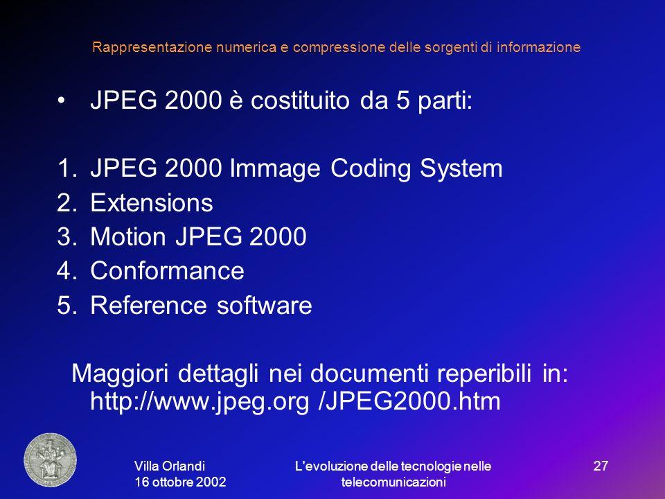Villa Orlandi 16 ottobre 2002 L evoluzione delle tecnologie nelle telecomunicazioni 27 Rappresentazione numerica e compressione delle sorgenti di informazione JPEG 2000 è costituito da 5 parti: 1.JPEG 2000 Immage Coding System 2.Extensions 3.Motion JPEG 2000 4.Conformance 5.Reference software Maggiori dettagli nei documenti reperibili in: http://www.jpeg.org /JPEG2000.htm