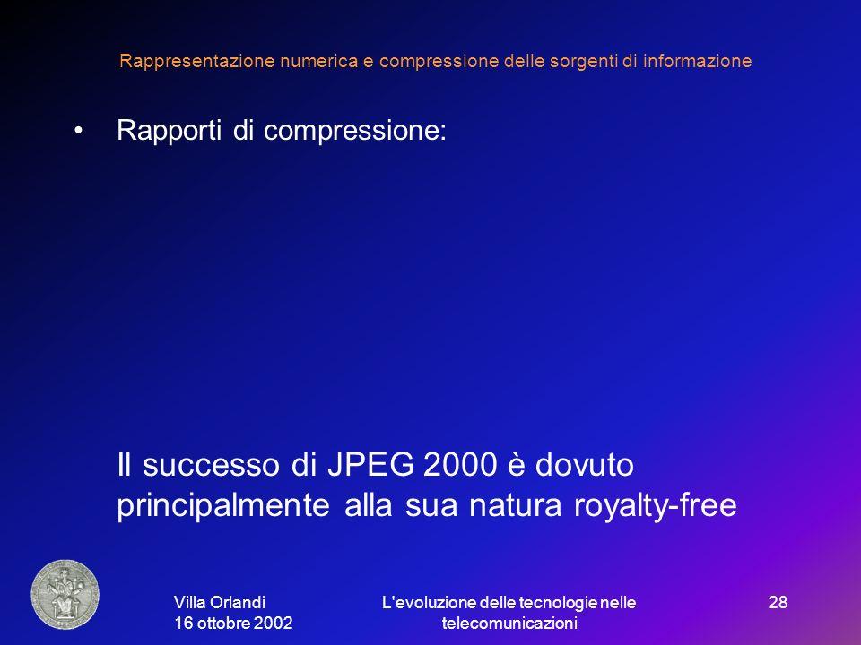 Villa Orlandi 16 ottobre 2002 L evoluzione delle tecnologie nelle telecomunicazioni 28 Rappresentazione numerica e compressione delle sorgenti di informazione Rapporti di compressione: Il successo di JPEG 2000 è dovuto principalmente alla sua natura royalty-free