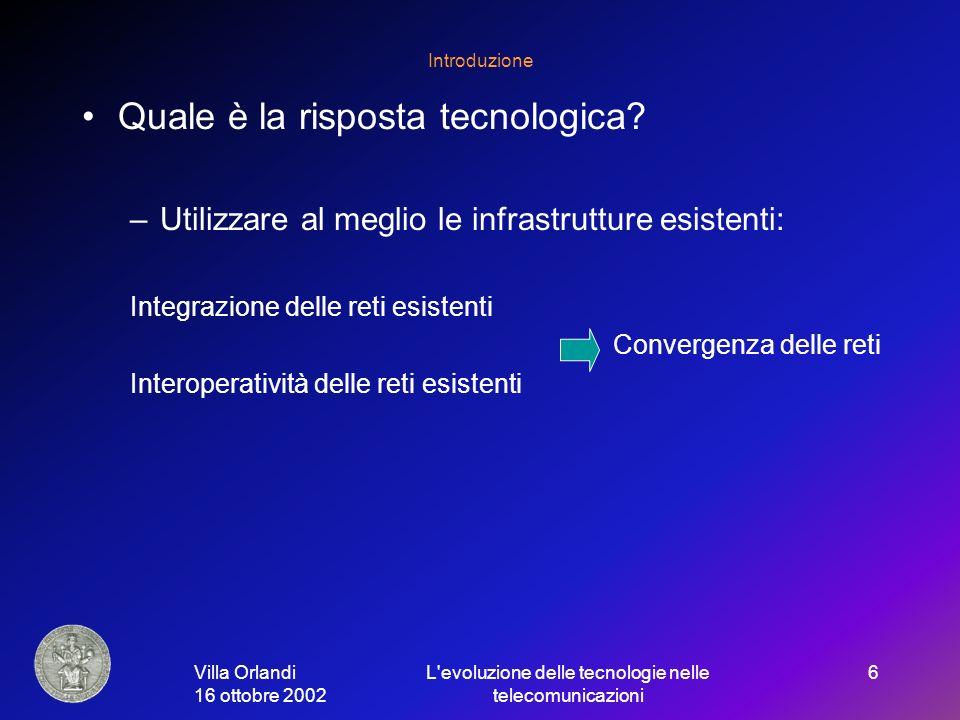 Villa Orlandi 16 ottobre 2002 L evoluzione delle tecnologie nelle telecomunicazioni 6 Introduzione Quale è la risposta tecnologica.