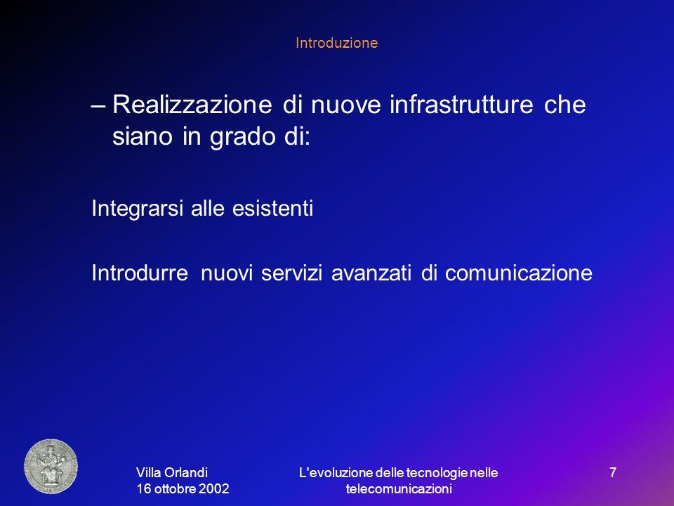 Villa Orlandi 16 ottobre 2002 L evoluzione delle tecnologie nelle telecomunicazioni 7 Introduzione –Realizzazione di nuove infrastrutture che siano in grado di: Integrarsi alle esistenti Introdurre nuovi servizi avanzati di comunicazione