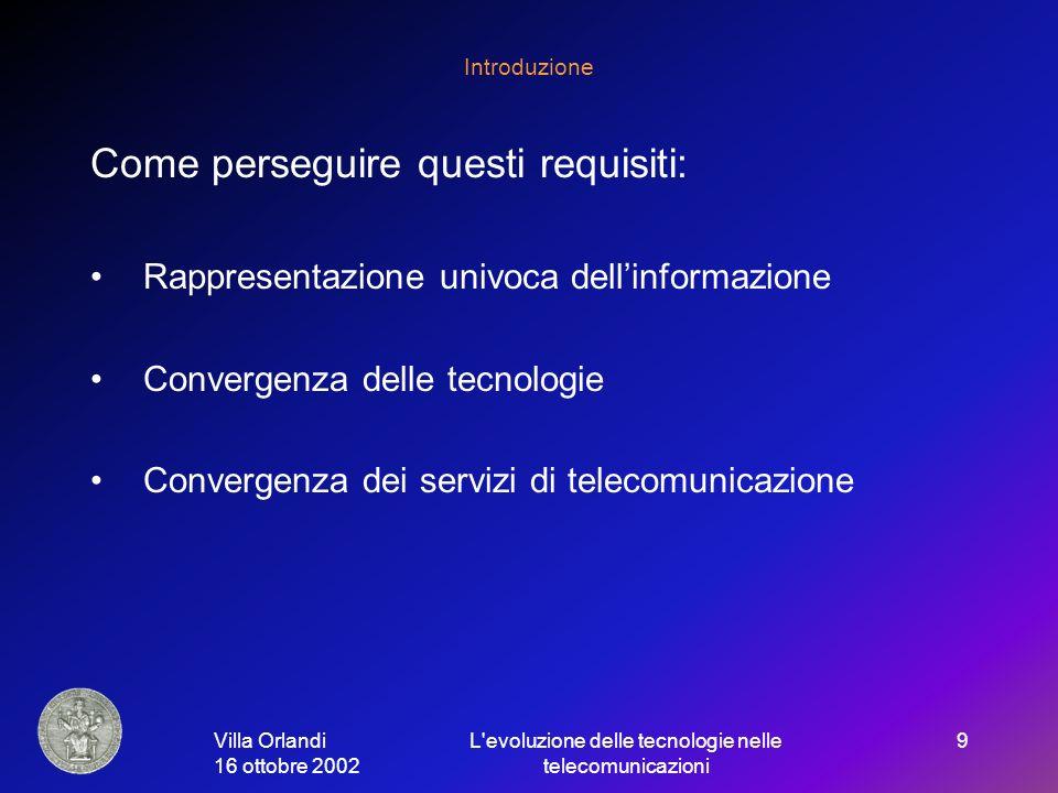 Villa Orlandi 16 ottobre 2002 L evoluzione delle tecnologie nelle telecomunicazioni 9 Introduzione Come perseguire questi requisiti: Rappresentazione univoca dellinformazione Convergenza delle tecnologie Convergenza dei servizi di telecomunicazione