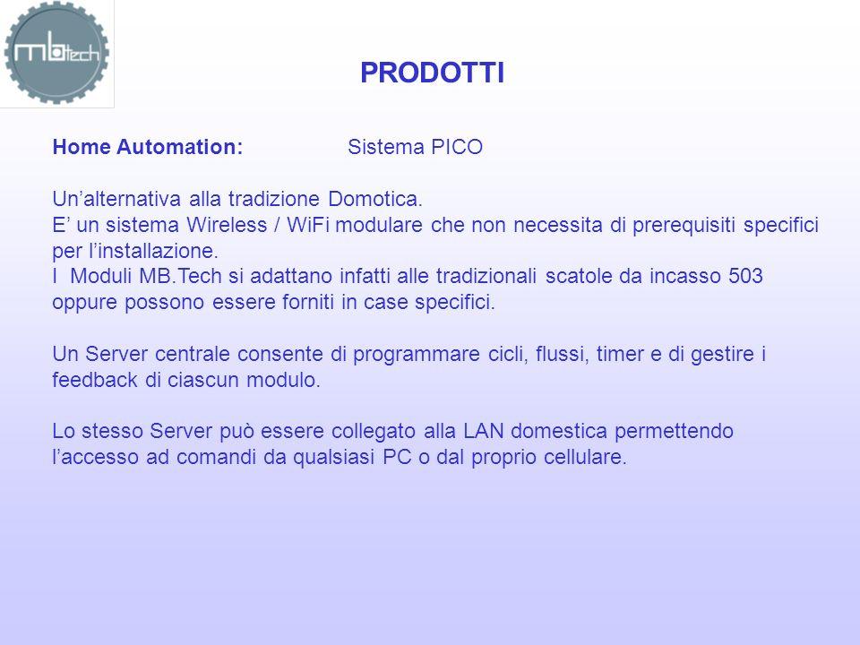 PRODOTTI Home Automation:Sistema PICO Unalternativa alla tradizione Domotica. E un sistema Wireless / WiFi modulare che non necessita di prerequisiti