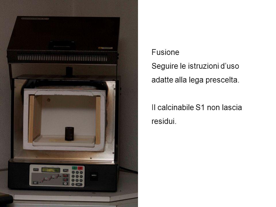 Fusione Seguire le istruzioni duso adatte alla lega prescelta. Il calcinabile S1 non lascia residui.