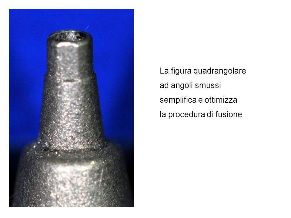 La figura quadrangolare ad angoli smussi semplifica e ottimizza la procedura di fusione