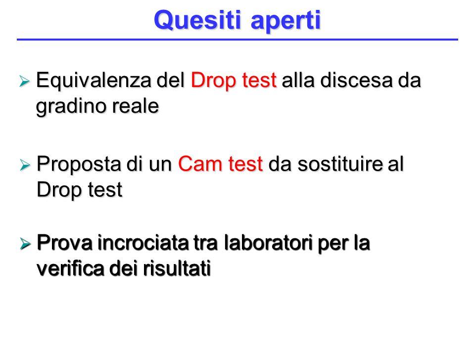 Proposta di un Cam test da sostituire al Drop test Proposta di un Cam test da sostituire al Drop test Quesiti aperti Equivalenza del Drop test alla di