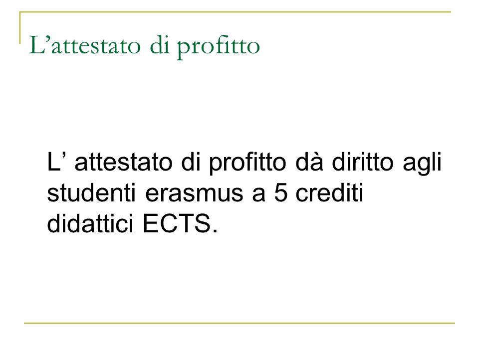 Lattestato di profitto L attestato di profitto dà diritto agli studenti erasmus a 5 crediti didattici ECTS.