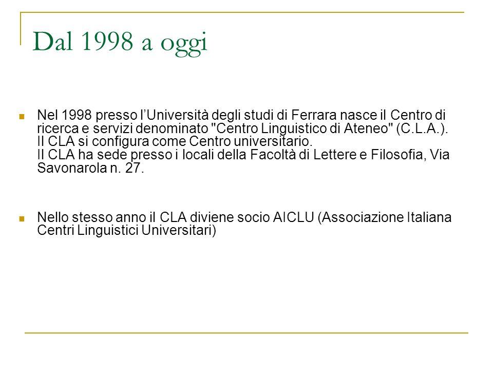 Dal 1998 a oggi Nel 1998 presso lUniversità degli studi di Ferrara nasce il Centro di ricerca e servizi denominato