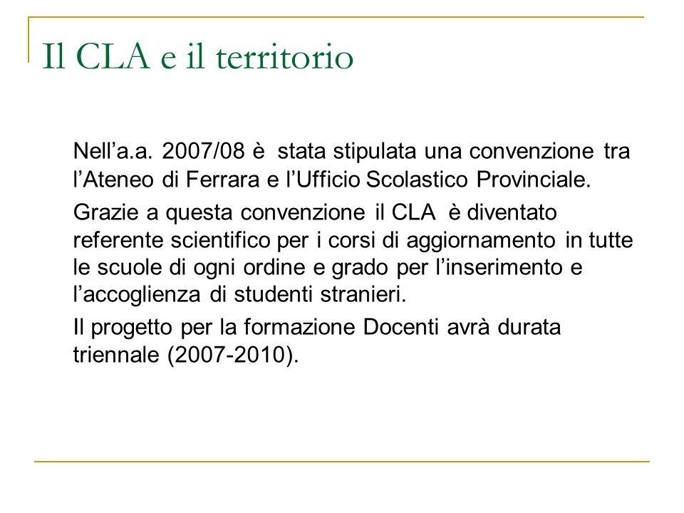 Il CLA e il territorio Nella.a. 2007/08 è stata stipulata una convenzione tra lAteneo di Ferrara e lUfficio Scolastico Provinciale. Grazie a questa co