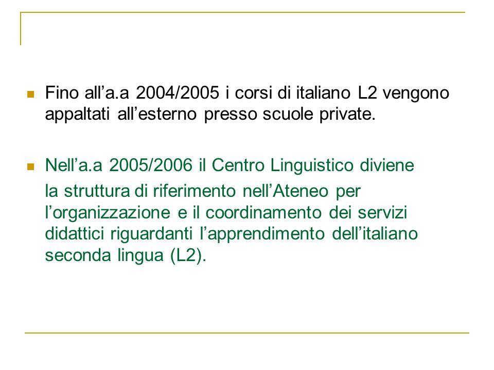 Fino alla.a 2004/2005 i corsi di italiano L2 vengono appaltati allesterno presso scuole private. Nella.a 2005/2006 il Centro Linguistico diviene la st