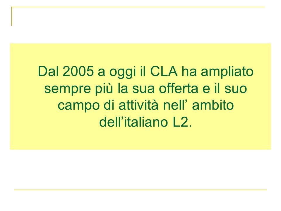 Dal 2005 a oggi il CLA ha ampliato sempre più la sua offerta e il suo campo di attività nell ambito dellitaliano L2.
