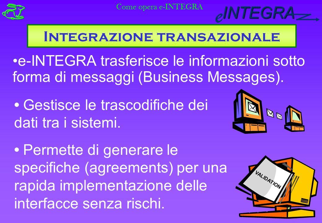 INTEGRA e e-INTEGRA trasferisce le informazioni sotto forma di messaggi (Business Messages).